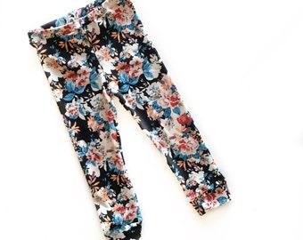 "Baby girl Leggings- toddler leggings- kids leggings -baby girl pants - fall outfit- toddler girl clothes- ""Auburn"" floral leggings- pants"