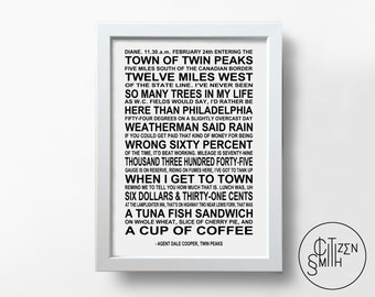 TWIN PEAKS - Special Agent Dale Cooper Quote - David Lynch - Entering The Town Of Twin Peaks - Film Wall Art Print/ TV Movie Poster