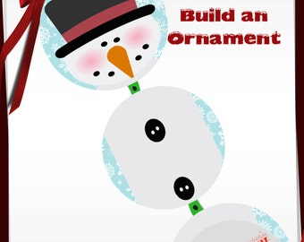 Build a Snowman Ornament Bottle Cap images -1 in circles - 600dpi, 4 Different sets on a Collage Sheet, ornaments, Gift Tags, BottleCaps