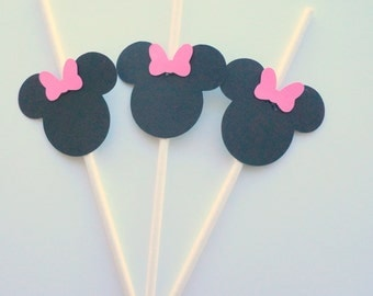 minnie mouse cake pop sticks - pink and black - birthday party