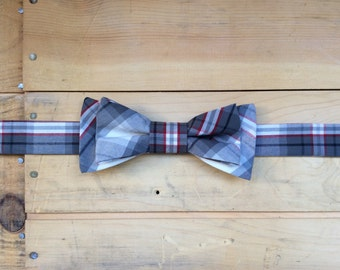 Hand Made Grey/Red/White Plaid Bow Tie, Made From Reclaimed Cotton.