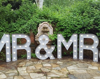 MR & MRS 4ft high Marquee letters