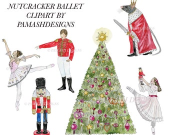 Nutcracker Ballet Watercolor Clipart for Art Projects | Nutcracker Gift Tags