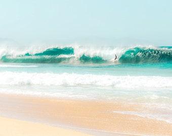 Bright Aqua Beach Decor, Aqua Waves, Surf Photography, Tropical Print, Aqua Green, Pipeline, North Shore Waves, Bright Ocean Photography