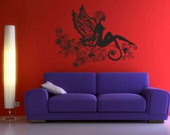 Wall Vinyl Sticker Decals Mural Room Design Girl Wings Flower Fairy Tale Pattern Ornament mi056