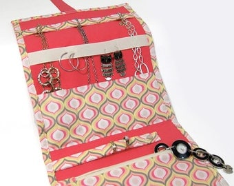 Jewelry Travel Organizer, Jewelry Roll, Jewelry Case in Sunny Summer Modern Print with a Coral Interior