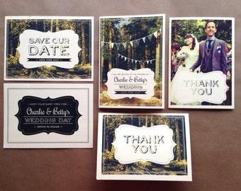 Personalised Wedding Thank You Cards - Woodland (to match concertina woodland range)
