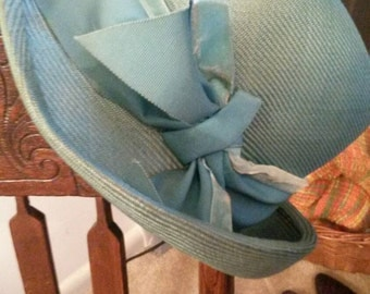 SALE! now 10.00 Vintage ladies pale green bucket hat. With matching grosgrain and velvet trim. Measured around band, 21 and 3/4 inches.