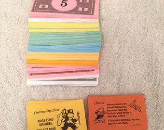 Vintage Monopoly Money And Cards