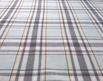 Pale Blue Tartan Cotton Fabric, Blue Plaid 100% Cotton by the Half Yard, Pale Blue with Black, Yellow, and White, Sewing Supply