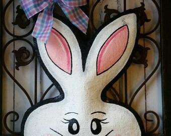 White Rabbit Easter Burlap Door Hanger Decoration and Wreath Replacement