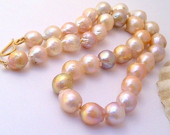 10% OFF. Pearl necklace. Real pearl necklace. Chinese Kasumi Edison near round nucleated Freshwater pearl necklace. Wedding necklace.  #120