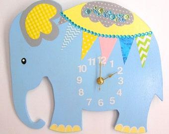 Nursery Wall Clock, Nursery Elephant Clock, Elephant Wall Clock, Children's Room Wall Clock, Wall Clock, Kid's Room Elephant Wall Clock