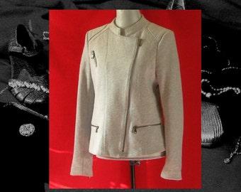 GRAY FULL ZIP sweatshirt, avant garde gray jacket, knit mod jacket,  asymmetrical jacket, boho  athletic zipper jacket, 1980S retro vintage