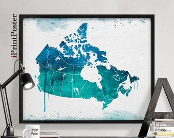 Canada watercolor map, Art, Print, Map of Canada, Canadian map poster, Poster, Art, Illustration, Artwork, Canada, Home Decor, iPrintPoster.
