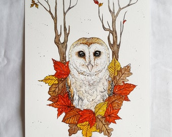 Owl art, owl artwork, owl decor, owl, owl gift, owl painting, owl print, owls, woodland decor, animal prints, woodland decor, forest animals