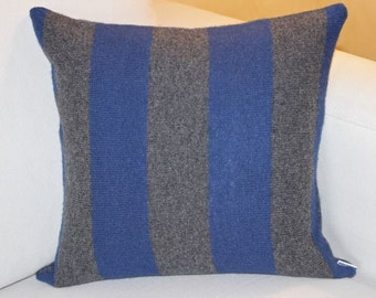 Blue and Grey Striped 100% Wool Pillow
