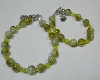 Beaded Bracelet, Mommy and me With Peridot set of 2
