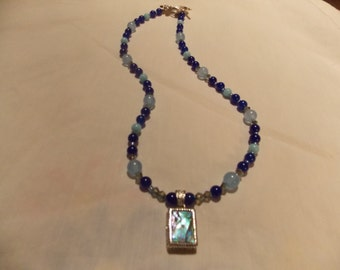Beaded necklace  w/ Abalone pendant