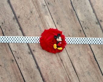 Disney Mickey Mouse headband with polka dot elastic band for baby, toddler and adult