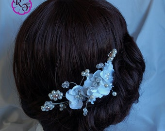 Bridal hair accessory , bridal hair piece  , Kanzashi flowers , wedding hair accessory , tone comb