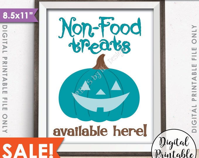 "Teal Pumpkin Sign, Allergy Safe Treats, Non-Food Treats Available, Teal Halloween, Teal Pumpkin Project, 8.5x11"" Instant Download Printable"