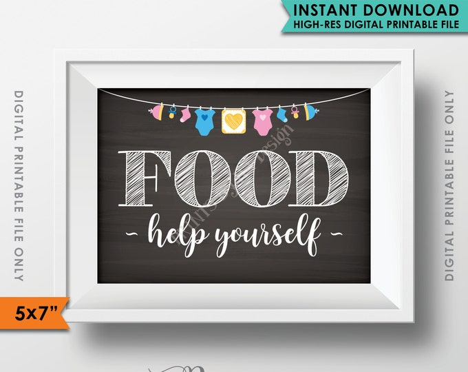 """Food Sign, Buffet Sign, Appetizers Sign, Help Yourself, Baby Shower, Neutral Clothesline, Instant Download 5x7"""" Chalkboard Style Printable"""