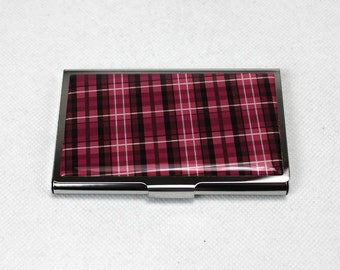 Pink Plaid Business Card Case