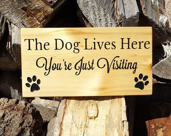 Pet Sign, Dog Sign, Dog Lives Here, Custom Wood Signs, Wood Signs, Rustic Sign, Cedar Sign, Wall Decor