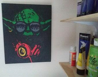 "Star Wars ""DJ Yoda"" - Custom Handpainted Acrylic Painting"