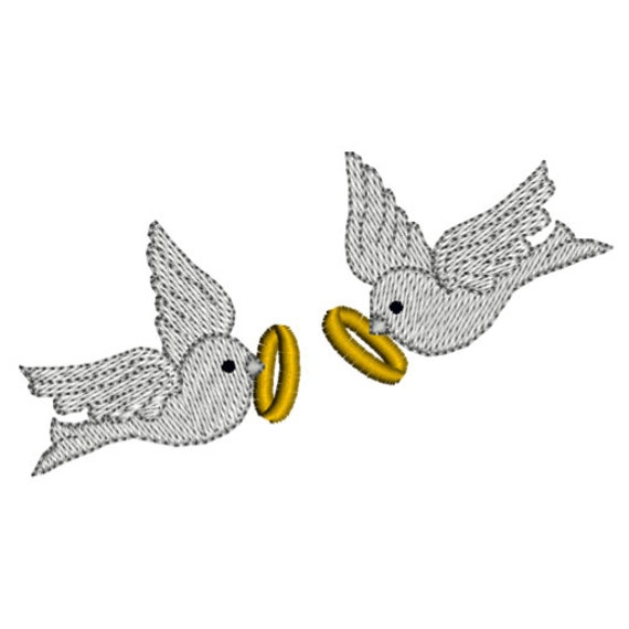 Wedding rings two doves machine embroidery by