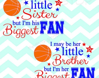 Basketball Biggest Fan brother sister design SVG and studio files for Cricut, Silhouette, Vinyl Cutters and Screen Printing