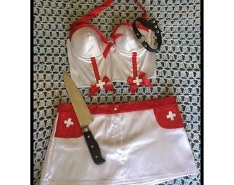 Naughty Nurse Costume Two Piece Lingerie