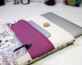 Macbook Pro sleeve, Pro Retina case 13, unique laptop case, 13 inch laptop cover, cottage chic, laptop case, purple laptop sleeve