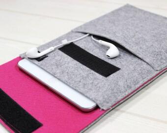 iPad Sleeve, iPad Mini /Air / iPad Air2 Case, iPad Cover, Tablet Case, Felt Sleeve, iPad Felt Case, Hot Pink Gray, Gray iPad Case, iPad Bag