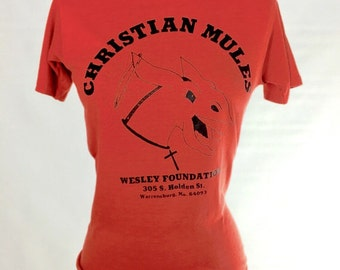 """70s """"CHRISTIAN MULES"""" XS T-shirt Womens Brick Red Slim Fit Soft Perfectly Worn"""