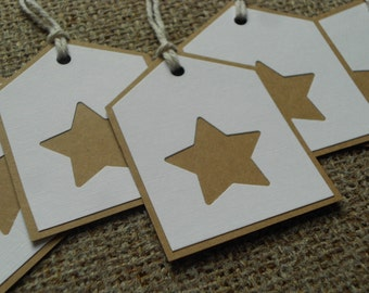 Handmade star gift tags x 5.  Hand-crafted, brown & white card with punched star shape, 8 x 6 cm...