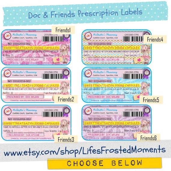 pdf prescription labels doc mcstuffins and friends inspired