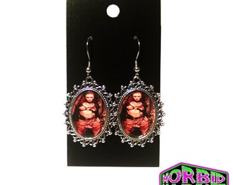 Return Of The Living Dead 3 Julie Small Cameo Pendant Dangle/Drop Silver Earrings