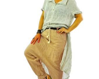 Beige pantaloni sciolti/Drop cavallo pantaloni/Eco lino maxi Pantaloni/Casual sciolto pantaloni/Handmade pantaloni/P1213 di lino gamba larga pantaloni/lino Pantaloni/donna