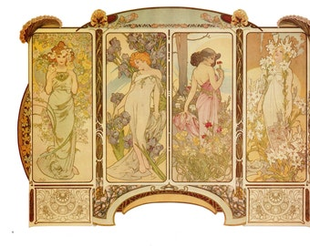 Art Nouveau print 11 inches wide and 15 inches tall. Alphonse Mucha