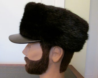 Muskrat fur and leather man's hat