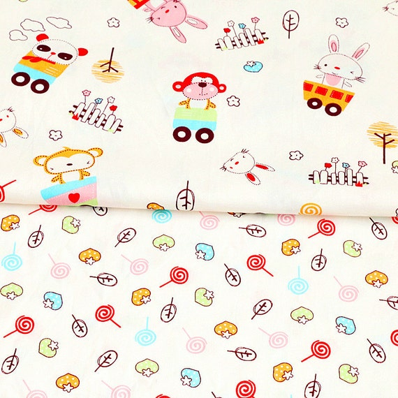 Kids cotton fabric bunny monkey animal fabric with candy for Children s home decor fabric