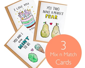 Mix and Match Card set - 3x A6 Blank Card - Watercolour