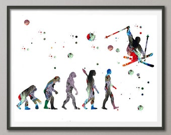 Ski watercolor print Evolution of the skier art print freeride skiing illustration sport art ski jump poster skiing wall decor [295]