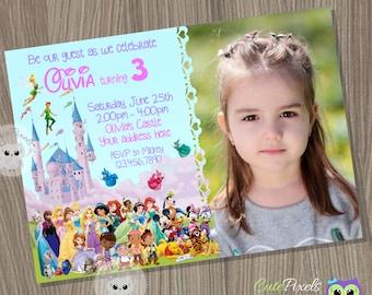 Disney Birthday Invitation Disney Girl Invitation Disney
