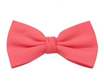 Coral Men's Wedding/Prom Bow Tie by Matchimony available in 37 colours