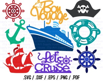 Cruise Ship Svg Files, Cruise Clipart, Cruise Boat Svg, Use With Silhouette Software, Svg Instant Download Files, EPS File, DXF File - CA349