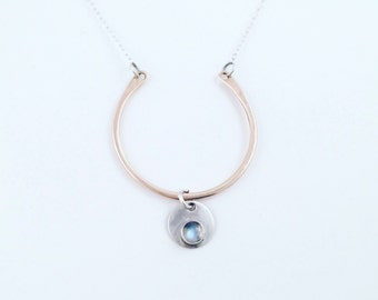 Rose Gold & Rainbow Moonstone Necklace