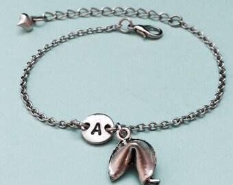 Fortune cookie charm bracelet, fortune cookie charm, adjustable bracelet, initial bracelet, monogram